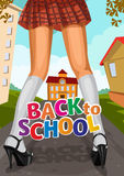 Young girl in a short skirt school goes to school Stock Image