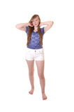 Young girl in shorts. Stock Photo
