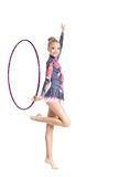 Young girl show gymnastics dance with hoop. Young teenager girl doing gymnastics exercise with hoop isolated Royalty Free Stock Photography