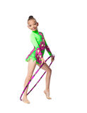 Young girl show gymnastics dance with hoop Royalty Free Stock Images