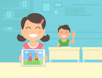 Young girl show her graphic illustration on the tablet pc Stock Photo