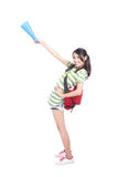 Young girl show smothing with copy space Royalty Free Stock Image