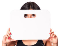 Young Girl Showing Blank Card Stock Photos