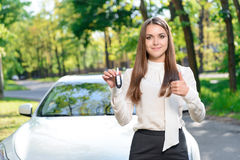 Young girl showing car keys Royalty Free Stock Photography