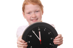 Girl with clock Stock Photos