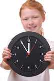 Girl with clock Royalty Free Stock Images