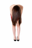 Young girl showing her long brunette hair Royalty Free Stock Images