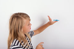 Young girl showing how to fidgeting Royalty Free Stock Photography