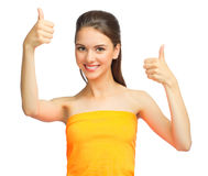 Young girl showing ok gesture. Isolated Royalty Free Stock Photo