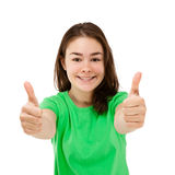 Young girl showing OK sign Royalty Free Stock Photos