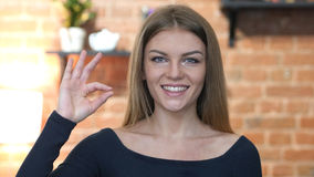 Young Girl Showing Ok Sign, Portrait Stock Image