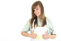 Young girl showing satisfaction Stock Photography