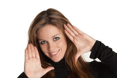 Young girl showing ten fingers stock images