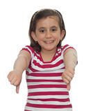 Young girl showing thumbs down Stock Images