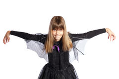 Young girl shows the bat Stock Photo