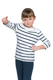 Young girl shows her finger forward Stock Image