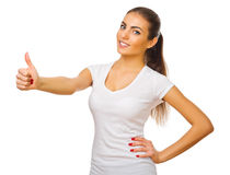 Young girl shows ok gesture Stock Photo
