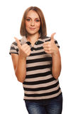 Young girl shows positive sign thumbs yes woman Royalty Free Stock Image