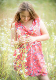 Young girl shy look down Stock Photo