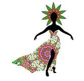 Young girl silhouette in chic long traditional dress Royalty Free Stock Photo