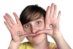 Young Girl Silly Face Mustache Stock Photos