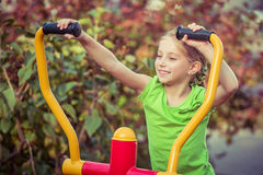 Young girl with simulator Stock Photography