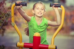 Young girl with simulator Royalty Free Stock Photos