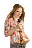 Young girl-singer Royalty Free Stock Images