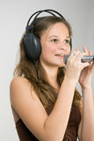 Young girl singing royalty free stock photography