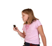 Young girl singing dancing with mp3 Royalty Free Stock Photo