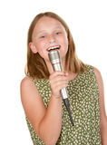 Young girl singing isolated on white Royalty Free Stock Images