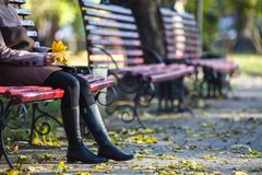 Young girl sitting on a bench in park on a fall day Stock Image