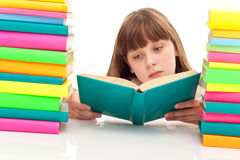 Young girl sitting with book Royalty Free Stock Photography