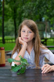Young girl sitting with branch Stock Photography