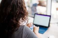 Girl with a laptop in a cafe. royalty free stock photo