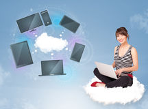 Young girl sitting on cloud enjoying cloud network service Stock Images