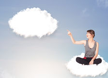 Young girl sitting on cloud and thinking of abstract speech bubb Royalty Free Stock Photography
