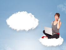 Young girl sitting on cloud and thinking of abstract speech bubb. Pretty young girl sitting on cloud and thinking of abstract speech bubble with copy space Royalty Free Stock Photos