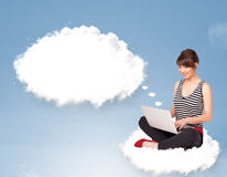 Young girl sitting on cloud and thinking of   bubb Royalty Free Stock Photo
