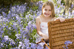 Free Young Girl Sitting Outdoors With Picnic Basket Stock Photos - 5935833