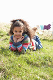Young Girl Sitting Outside In Caravan Park Stock Photography