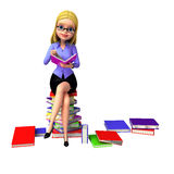 Young girl sitting on the pile of books Stock Photo