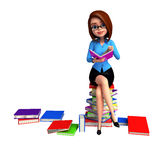 Young girl sitting on the pile of books Stock Image