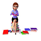 Young girl sitting on the pile of books Royalty Free Stock Photo