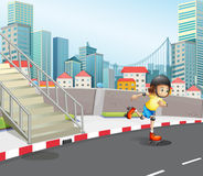 A young girl skateboarding at the road. Illustration of a young girl skateboarding at the road Royalty Free Stock Photo
