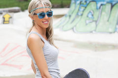 Young girl in skatepark Royalty Free Stock Image