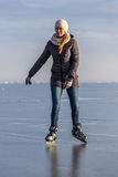 Young girl skating on Lake Balaton in Hungary Royalty Free Stock Photos