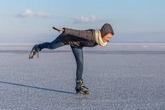 Young girl skating on Lake Balaton in Hungary Royalty Free Stock Photography