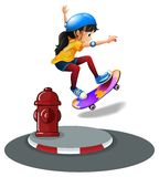 A young girl skating. Near the hydrant on a white background Royalty Free Stock Photo