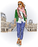Young girl in sketch-style on a french background Stock Photos